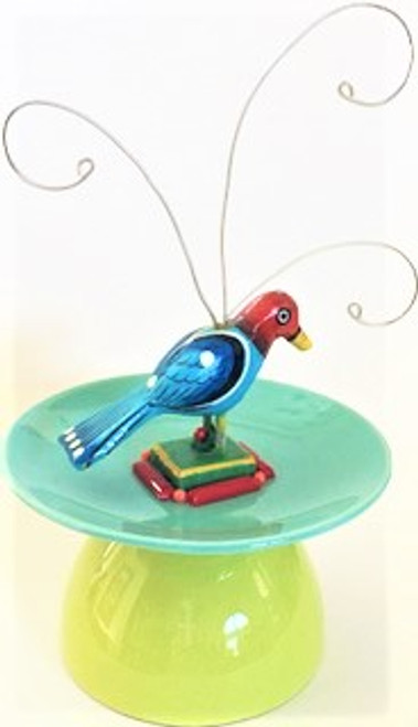"8"" high, 5"" in diameter Features: Hand painted wooden parrot carving 1930s deco glass 1960s vintage plastic beads Hang tag with features included Handcrafted by Joli Jewelry, limited edition pieces with vintage & new materials"
