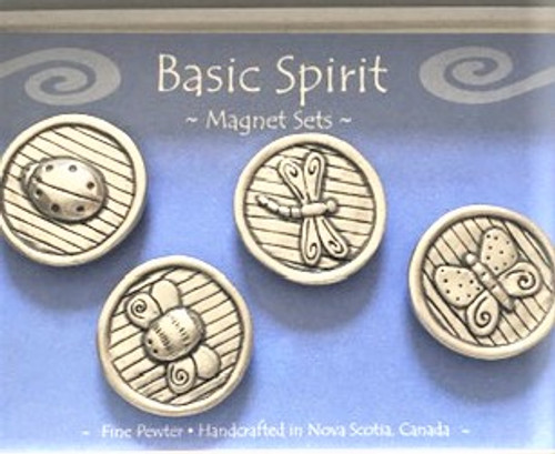 "Cheerful magnet set made of pewter One each magnet in ladybug, bee, dragonfly & butterfly designs Each magnet is 1.25"" in diameter Strong magnet disk on back By Basic Spirit"
