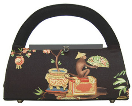 "Unique, quality handbag designed exclusively by Liz Soto Black gunmetal top frame with eye latch closure Beautiful interior solid black fabric lining Dress up or down Inner zip pocket Dimensions: 12"" x 6"" x 2.5"" gusset Exotic monkey vignette also has small aurora borealis (AB) &  dark orange crystal embellishments Inside brackets present for strap handle (not included)  Gunmetal protective feet on handbag bottom By Liz Soto Handbags"