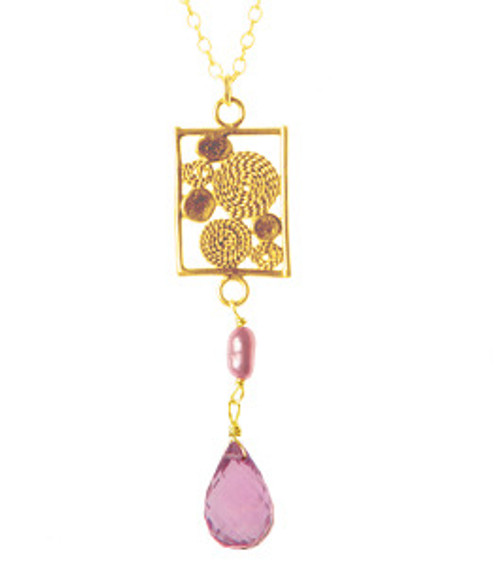 Buji Bijoux Horoscope Earring in Amethyst with Pink Pearl