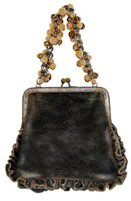 """Handbag size:  8"""" wide; 7.5"""" tall Lining is solid black brocade 13"""" bronze drop chain handle with faux pearl, champagne & topaz beading  By Liz Soto Handbags"""