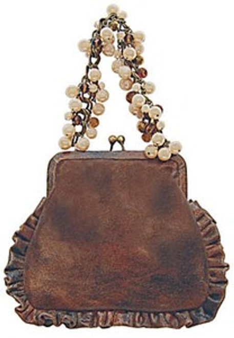 """Handbag size:  8"""" wide; 7.5"""" tall Lining is solid brown brocade 13"""" drop bronze chain handle with faux pearl, champagne & topaz beading  By Liz Soto Handbags"""