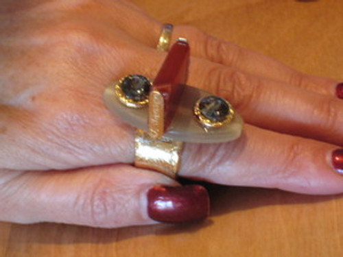 J Jansen Designs - 24K Gold Plated Ring w/Horn, Carnelian & Blk Diamond Swarovski Crystal