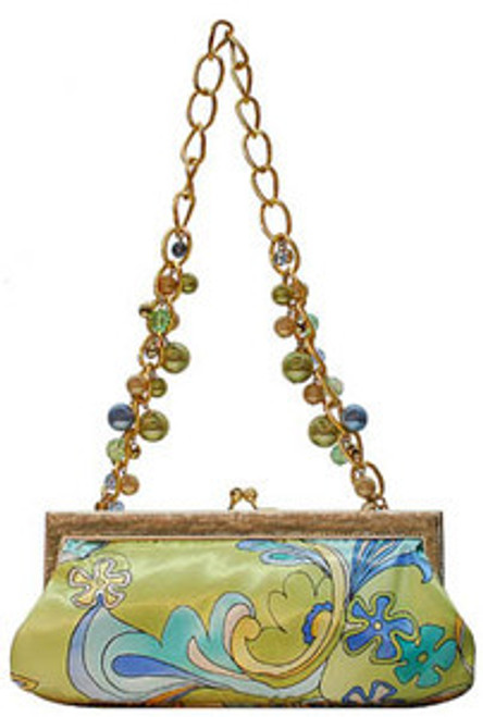 "Handbag size:  11.5"" wide; 6"" tall Gold ball top closure and faux gold leather top frame  Lining is solid lime green satin 13"" drop gold tone chain handle with faux light pink, lime, & gold pearls & bronze beading  Inside pouch pocket By Liz Soto Handbags"