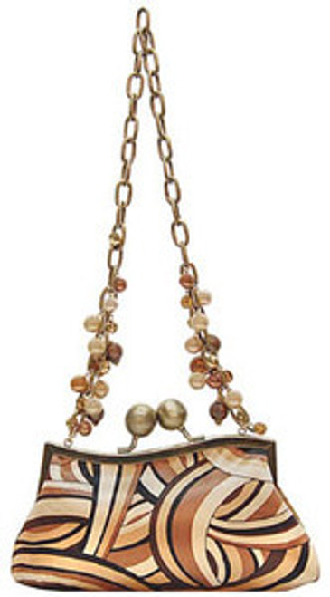 "Handbag size:  9.5"" wide; 6"" tall Silk brown abstract print Large bronze ball top closure and bronze top frame  Lining is solid brown satin 13"" drop bronze chain handle with faux caramel & champagne pearls & dark brown beading  Inside pouch pocket By Liz Soto Handbags"