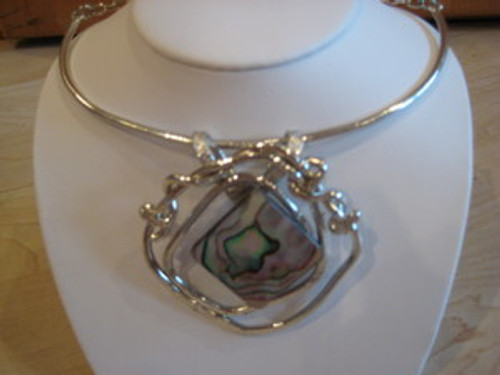 J Jansen Designs - Abalone Necklace in Silver Finish