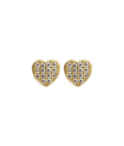 """14k gold vermeil Pave Posts with CZ crystals Small heart shape Posts measure approximately .25"""" Post backing Ships on Viv & Ingrid signature earring bag"""