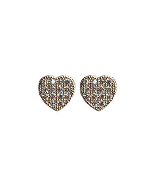 """Delicate pave post earrings: Rhodium plated 925 sterling silver Pave Posts with CZ crystals Small heart shape Posts measure approximately .25"""" Post backing Ships onViv & Ingridsignature earring bag"""