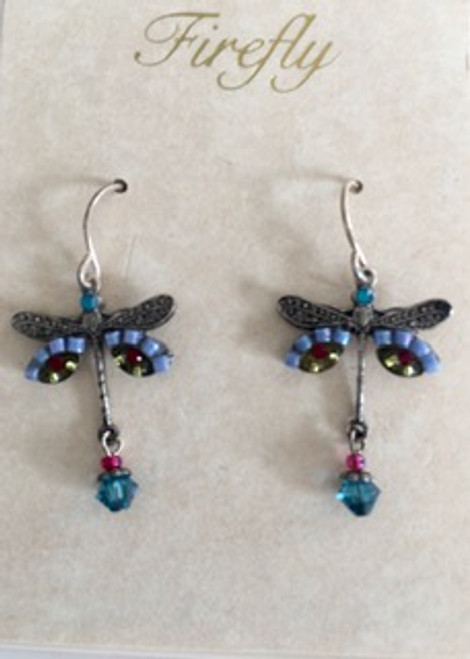 - Sterling silver French shepherd hook ear wires - periwinkle & citron Czech fire polished beads & red Swarovski crystal on wings - blue Swarovski crystal beads on top & bottom of dragonfly design along with pink bead on bottom - brass with silver plated findings for dragonfly form