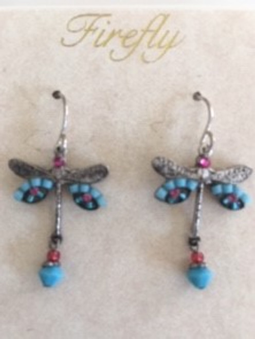 - Sterling silver French shepherd hook ear wires  - Turquoise & medium blue Czech fire polished beads & pink Swarovski crystal on wings  - Pink Swarovski crystal bead on top of dragonfly.  Pink & turquoise beads on bottom of dragonfly design - Brass with silver plated findings for dragonfly form