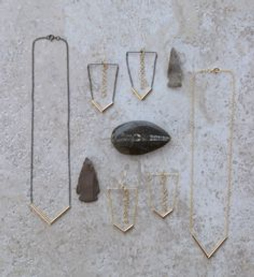 Far left.   1 inch gold filled centerpiece chevron, 16 inch sterling silver chain