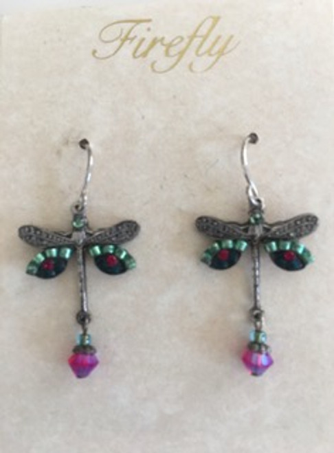 - Sterling silver French shepherd hook ear wires  - Sage & emerald colored Czech fire polished beads & ruby red Swarovski crystal on wings  - Sage Swarovski crystal bead on top of dragonfly.  Sage & dark pink beads on bottom of dragonfly design - Brass with silver plated findings for dragonfly form