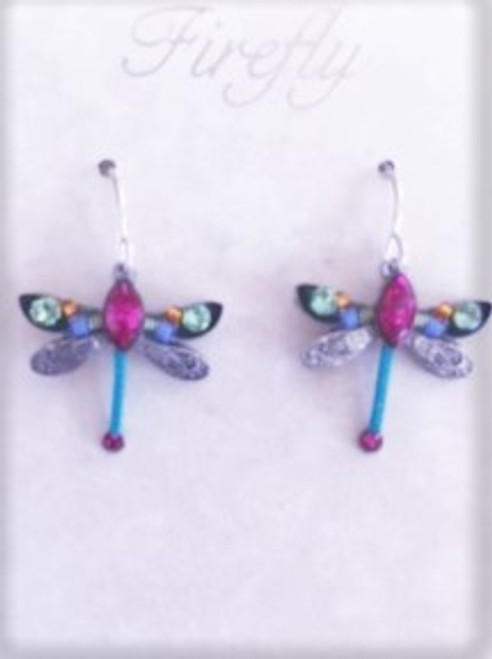 - Sterling silver French shepherd hook ear wires  - Lavender & orange Czech fire polished beads & lime Swarovski crystal on wings  - Large fuchsia Swarovski crystal between dragonfly wings.  Turquoise decorative cord & fuchsia Swarovski crystal on bottom of dragonfly design - Brass with silver plated findings for dragonfly form