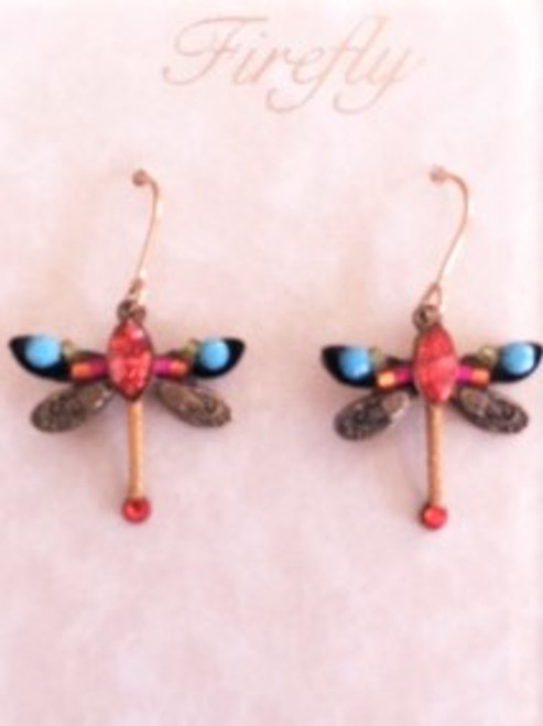 - Gold filled French shepherd hook ear wires  - Top wing has small decorative hot pink coiled wire & tangerine, lime & turquoise Czech fire polished beads - Bottom wing has metal design stamped on the antique brass finish  - Large tangerine Swarovski crystal between dragonfly wings.   - Tangerine decorative cord & shiny tangerine Swarovski crystal on bottom of dragonfly design - Antiqued brass finish findings for dragonfly form