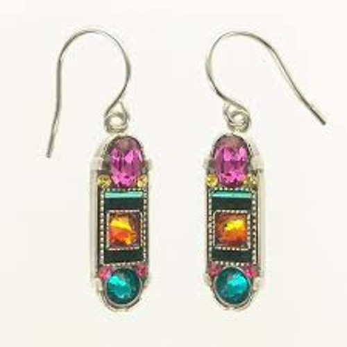 """- Sterling silver French shepherd hook ear wires  - Gorgeous fuchsia, tangerine & teal Swarovski crystals steal the show!  Smaller citron and fuchsia crystals help frame the top and bottom larger crystals. The back side of the earrings are engraved with words of inspiration """"hope"""" and """"dream"""" (see separate picture) - Brass with silver plated findings used for form"""