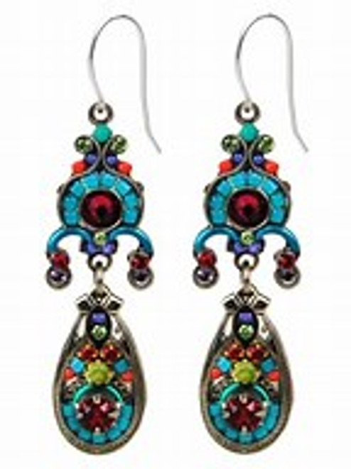 - Sterling silver French shepherd hook ear wires - This delicate mosaic chandelier earring is set off with fuchsia colored Swarovski crystal beads at the top, center, as well as at the bottom design inside the teardrop shape.  - Other color complements include turquoise, salmon & lavender Czech fire polished beads - Swarovski crystal secondary colors are peridot at the top, middle & bottom and ruby at bottom part of design - The back side of this earring is ornately detailed - Brass with silver plated findings for earring form