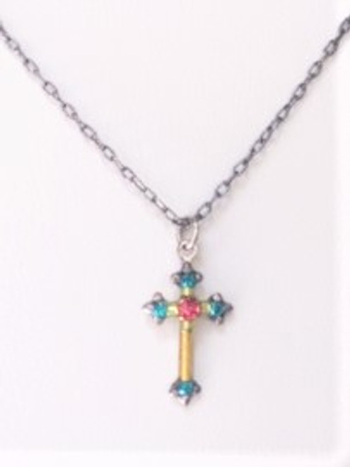 """- 16"""" steel metal necklace chain plus another 2"""" extender  - Cross points each have teal Swarovski crystal  - Inward of teal crystal points are lime colored Czech fire polished spacer beads - Cross center is tangerine Swarovski crystal - Cross base is decorative yellow metal - Brass with silver plated findings for pendant form"""