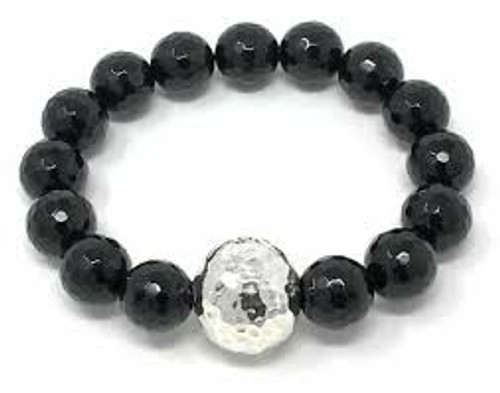 Stretch bracelet  Black onyx faceted 10mm beads around Oblong 925 sterling silver statement bead Made in Israel by Simon Sebbag Designs