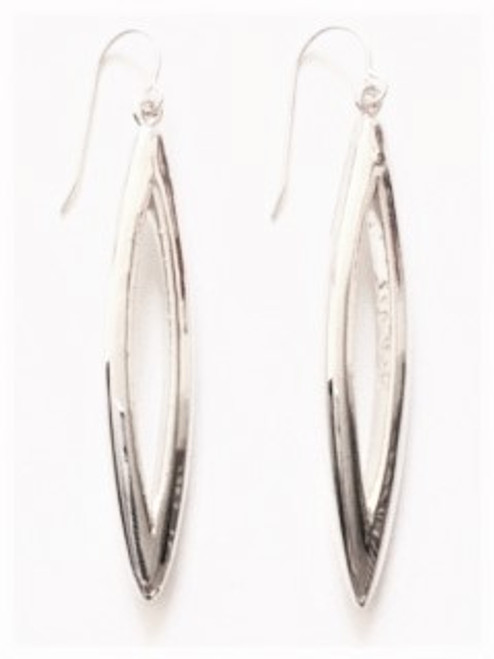 Long, sleek & smooth with cutout in middle - wire earring E2321/W Lightweight 925 Sterling silver Made in Israel by Simon Sebbag Designs