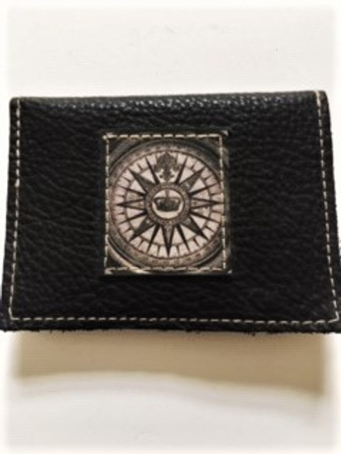 "Soft pebble grain black leather Size:  4.25"" x 3"" Royal compass leather artwork patch sewn to pouch Snap envelope closure in back Handmade in Los Angeles by KBD Design"