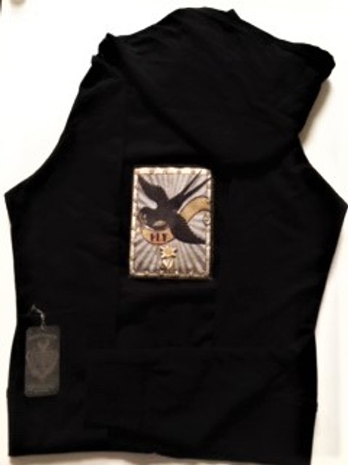 "Black hoodie with swallow ""fly"" bird artwork & opalescent Swarovski crystals New with tags One size fits most Zip front with pockets Ribbed cuffs, bottom, sides & rib detail around hood & pocket edges 50% cotton  /  50% polyester Wash cold inside out"