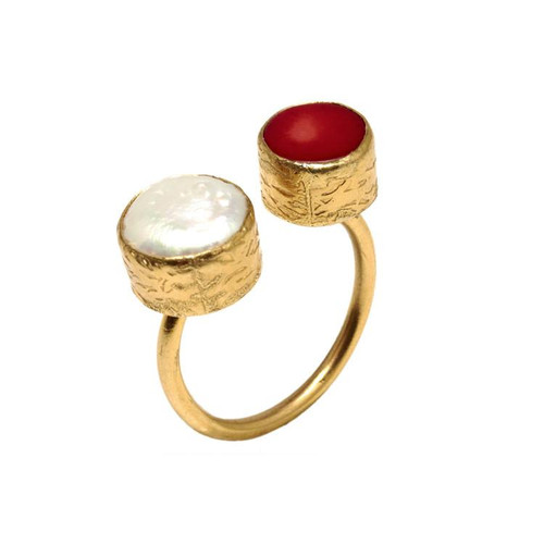 Stylish & beautiful statement ring! Gold plated bronze, semi-precious stones  6, O/S,  adjustable ring:  bronze is easily bendable and can be enlarged easily .4-.5 in. diameter / width stones Handmade in Turkey for Tiklari