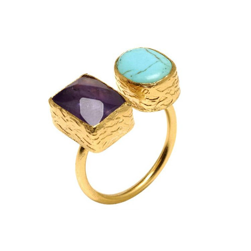 Stylish & beautiful statement ring! Gold plated bronze, semi-precious stones (see matching turquoise necklace & earrings in separate listings) 6, O/S,  adjustable ring:  bronze is easily bendable and can be enlarged easily .4-.5 in. diameter / width stones Handmade in Turkey for Tiklari