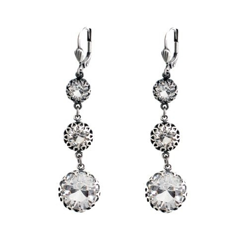 """From the """"old silver"""" collection Lever back wires Sterling silver over a copper base metal Three tiered round clear Swarovski crystals encased in decorative metal findings By La Vie Parisienne"""