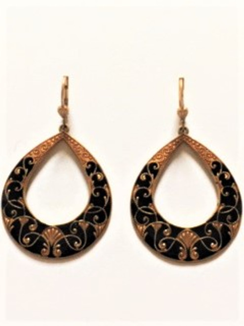 """From the """"enamel"""" collection Lever back wires 14K gold finish over a copper base metal Ornately designed & stately black enamel teardrop shape cutout with copper base metal findings By La Vie Parisienne"""