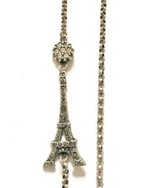 """From the """"old silver"""" collection Necklace length is 16"""" + 2"""" adjustable Sterling silver over a copper base metal Eiffel Tower has black diamond Swarovski crystals; circle above Eiffel Tower has clear Swarovski crystals By La Vie Parisienne"""