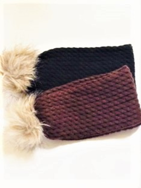 One size  Body yarn:  100% acrylic Pom faux fur:  70% acrylic; 30% polyester By San Diego Hat Company