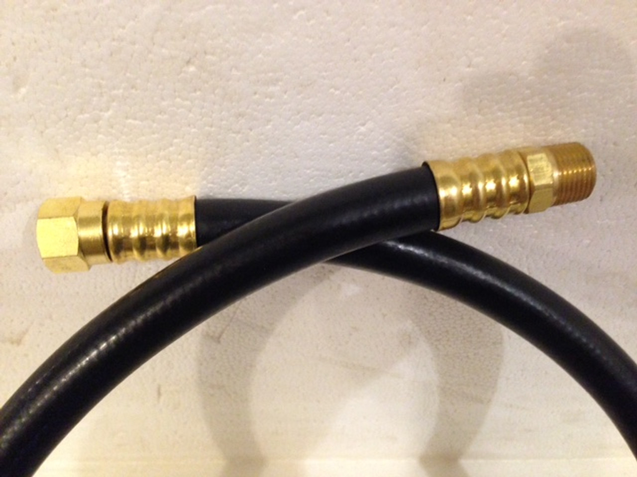 """3/8"""" Female Flare for TEE inside structure x 3/8"""" Male Pipe Thread for LP Regulator outside of structure"""