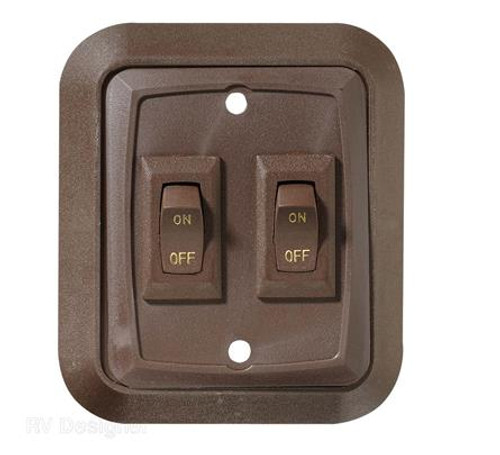 BROWN DECORATIVE DOUBLE SWITCH