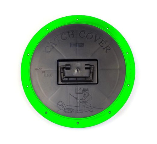 HI VIS CATCH COVER. INCLUDES A HI VIS MOUNTING RING AND BLACK SNAP DOWN COVER