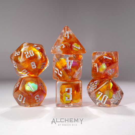 Handcrafted \u2018Strawberries and Bananas\u2019 dice set with iridescent inclusions Grade B