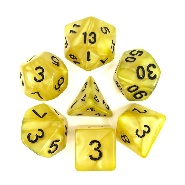 Yellow Pearl Dice Set With Black Numbers