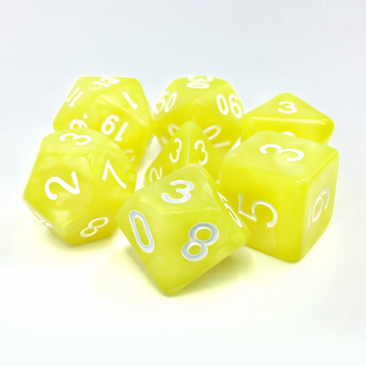 Bright Yellow Pearl Dice Set With White Numbers