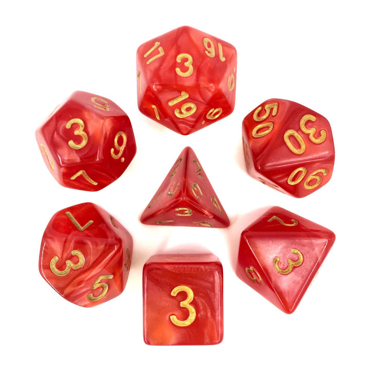 Red Pearl Dice Set With Gold Numbers