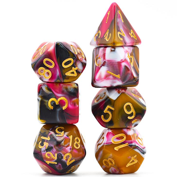 4 Color Blend Black White Brown Red with Gold Ink Polyhedral Dice Set For RPGs