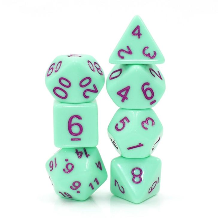 7pc Mint Rose Polyhedral RPG dice set