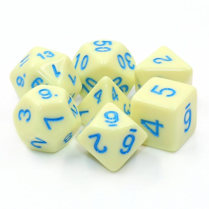7pc Eggshell Robin Polyhedral RPG dice set