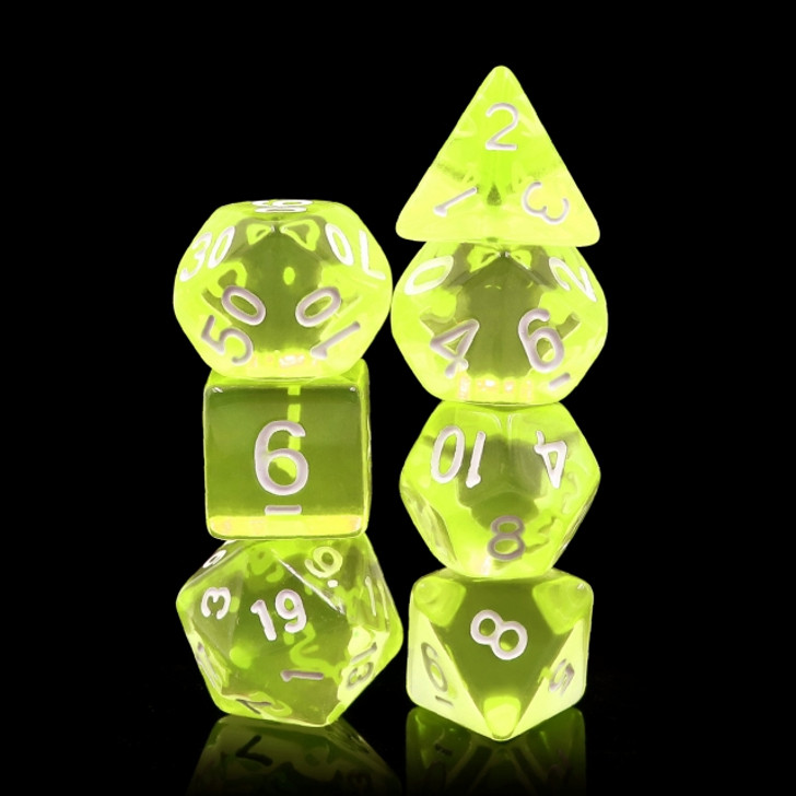 7pc Sun Gems Translucent Polyhedral RPG dice set