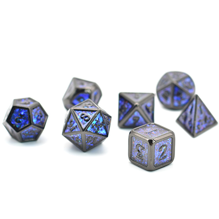 7pc Black Chrome Polyhedral Dice Set with Photosensitive Blue-Green Glitter For RPGS
