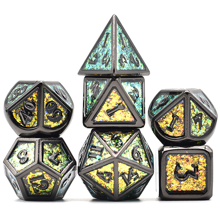 7pc Black Chrome Polyhedral Dice Set with Photosensitive Gold-Green Glitter For RPGS