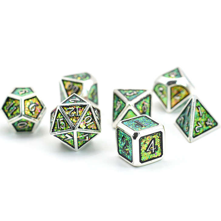 7pc Silver Polyhedral Dice Set with Photosensitive Rose-Green Glitter For RPGS