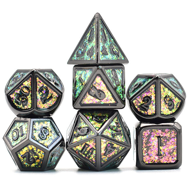 7pc Black Chrome Polyhedral Dice Set with Photosensitive Rose-Green Glitter For RPGS