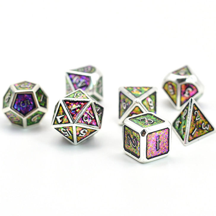 7pc Silver Polyhedral Dice Set with Photosensitive Purple-Green-Gold Glitter For RPGS