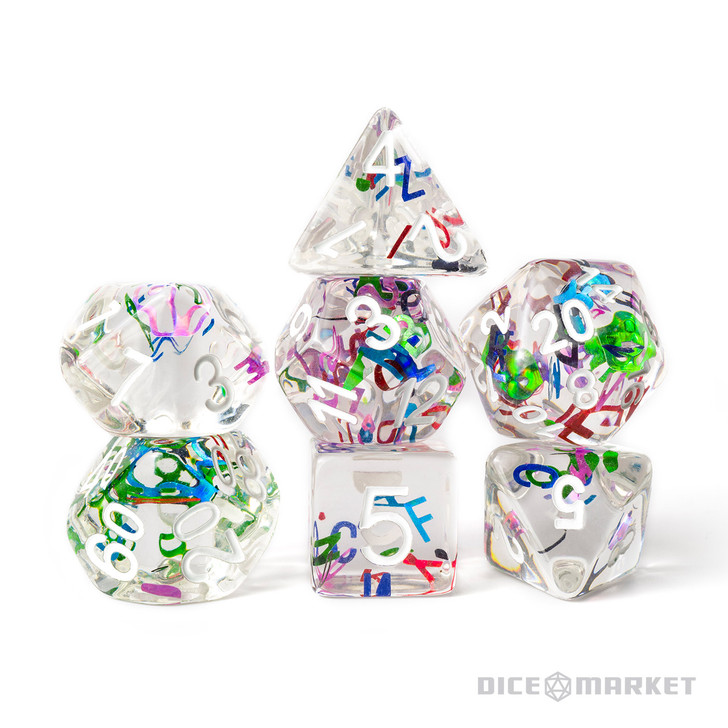 Rainbow Alphabet Filled 7pc Polyhedral Dice Set