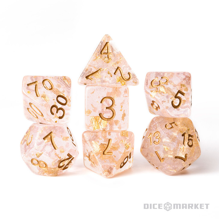Pink with Gold Leaf Filled 7pc Polyhedral Dice Set