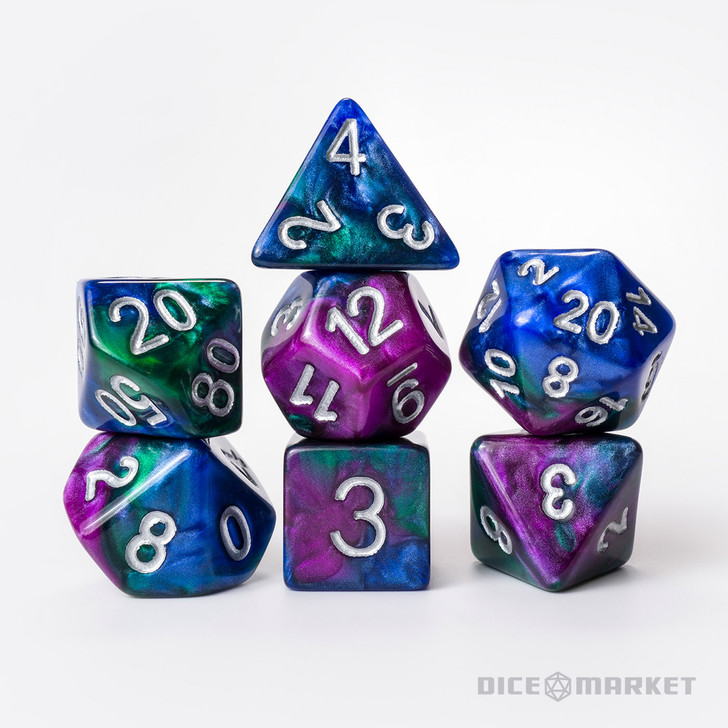 Purple, Green, and Blue 7pc Polyhedral Dice Set with Silver Ink